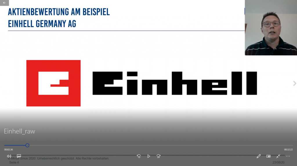 Youtube Video: Minus Sinus Aktienbewertung Einhell